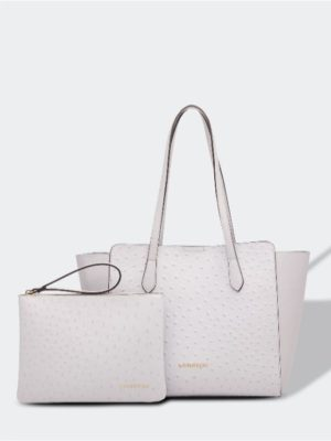 Franco ostrich dove grey intenal bag